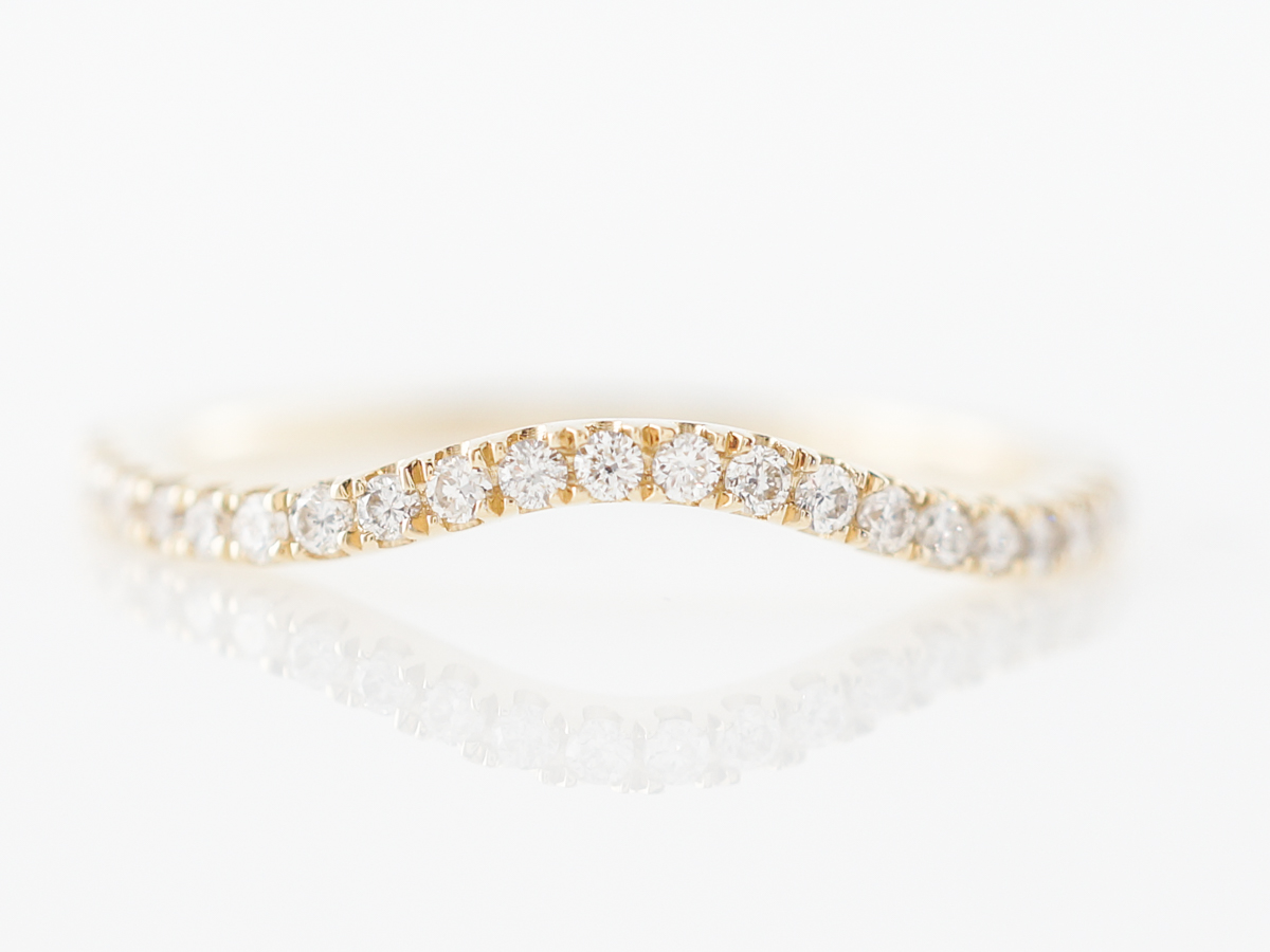 Contoured Wedding Band w/ Diamonds in Yellow Gold
