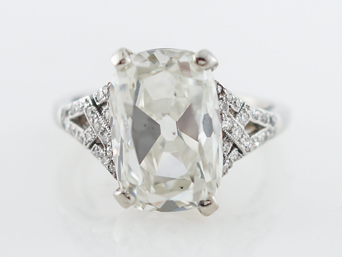 Vintage 5 Carat Cushion Cut Diamond Engagement Ring
