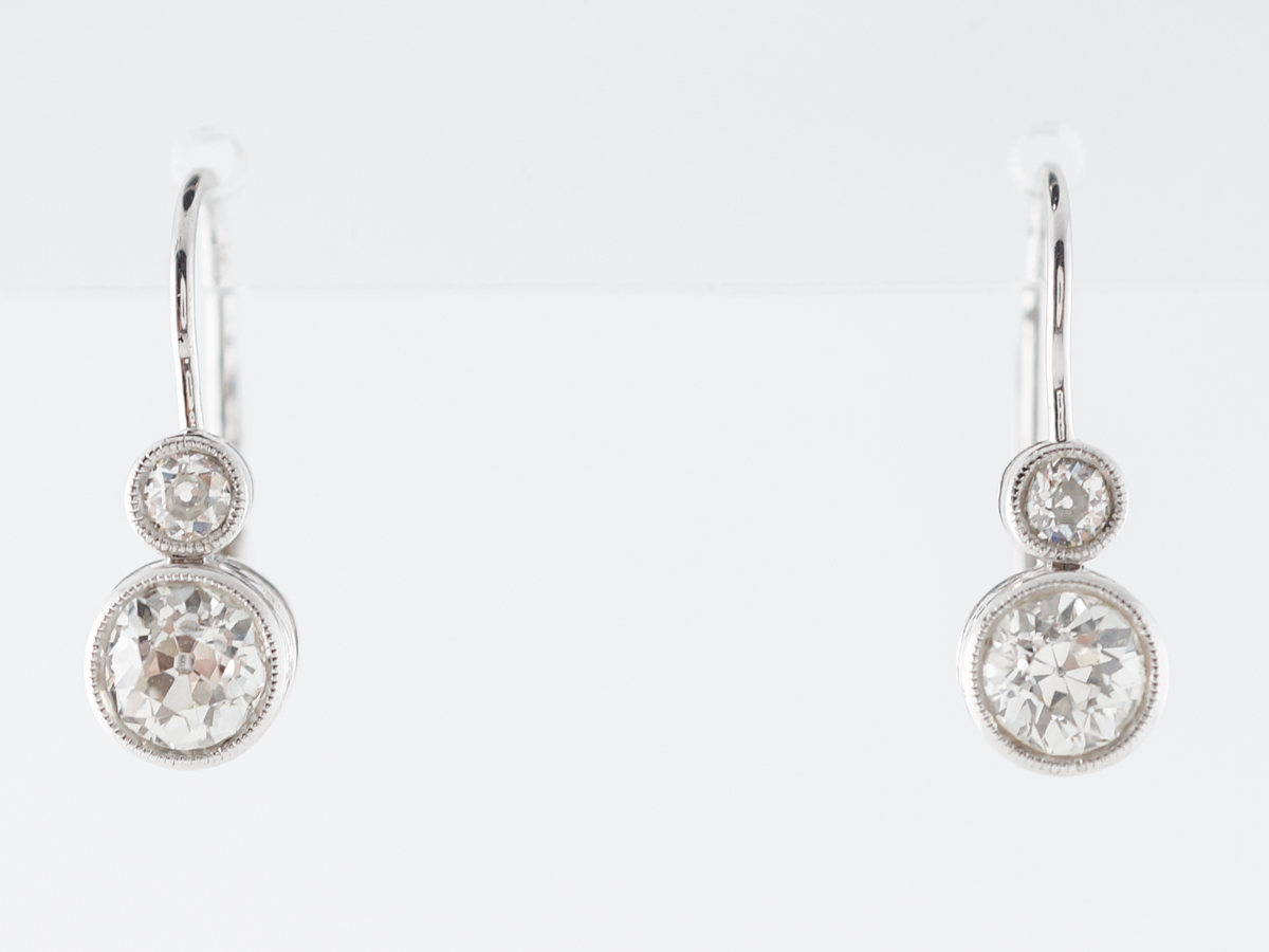 Deco Style Diamond Earrings 1 Carat in Platinum