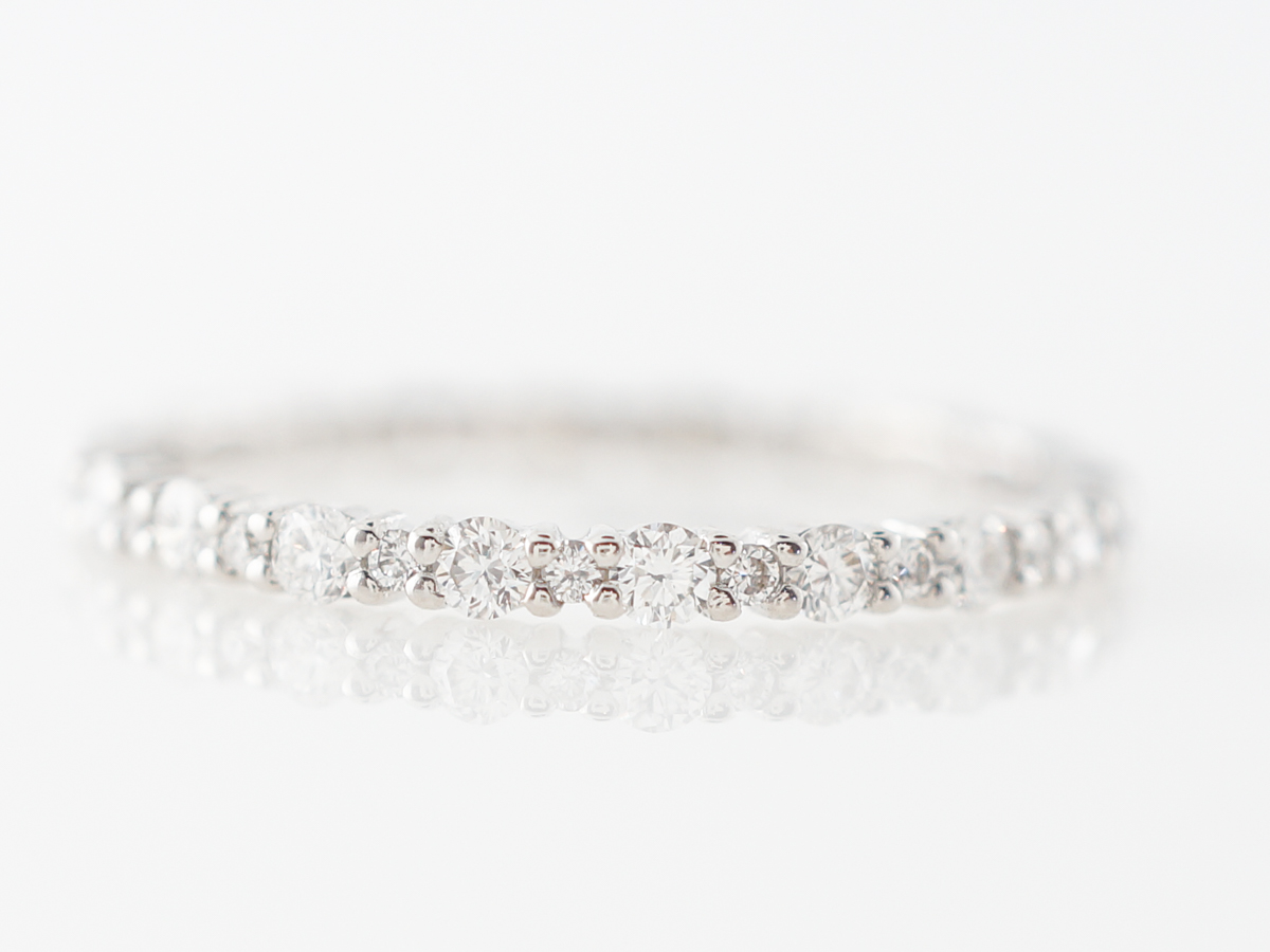 Half Carat Diamond Eternity Wedding Band in 18k White Gold
