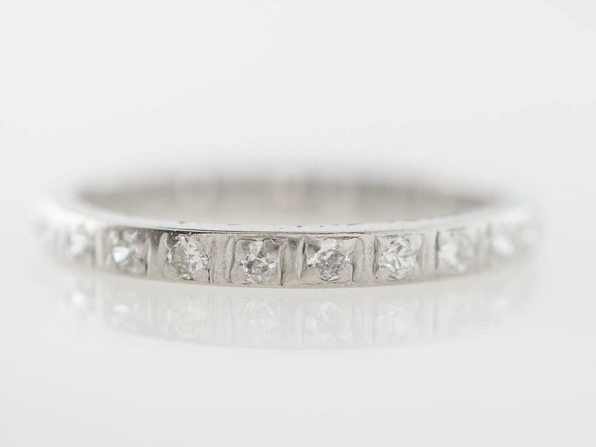 Antique Eternity Wedding Band w/ Diamonds Platinum