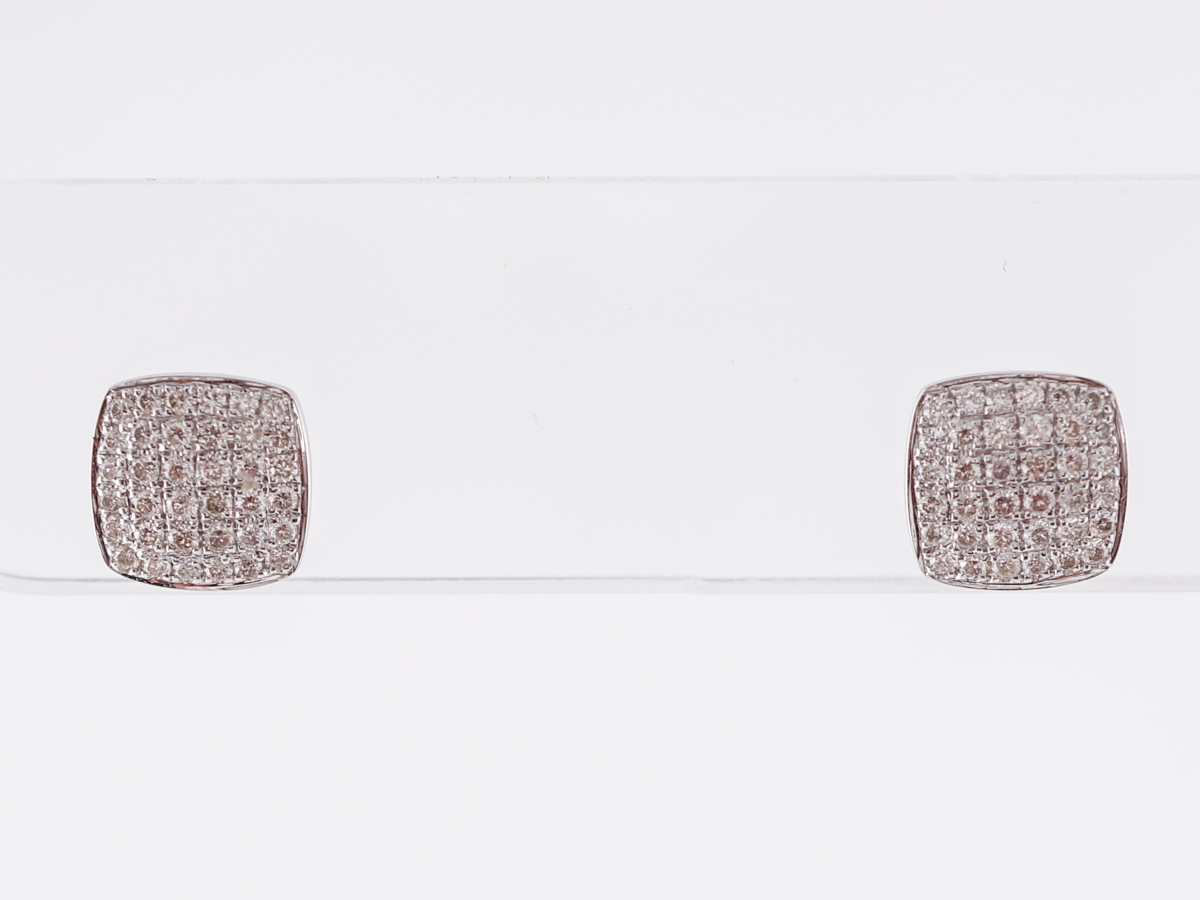 Square Pave Diamond Stud Earrings in 14k White Gold