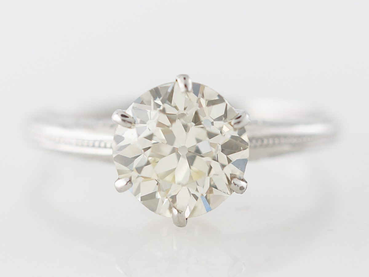 Edwardian Solitaire Diamond Engagement Ring in Platinum