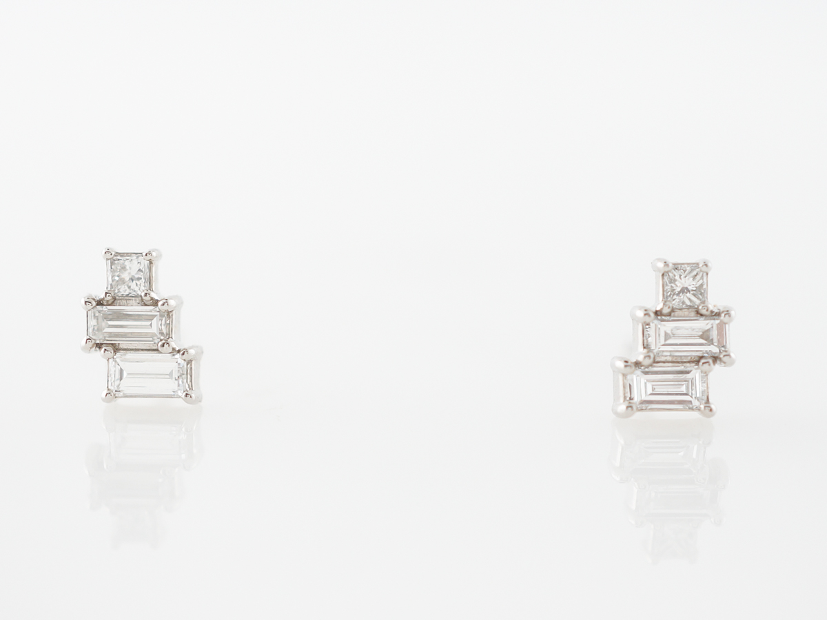 Baguette Diamond Stud Earrings in 14k White Gold