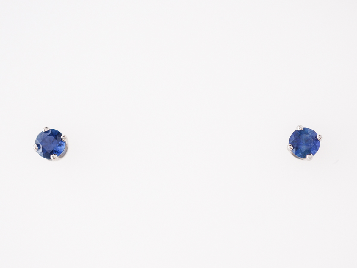 Modern .38 Sapphire Stud Earrings in 14k White Gold