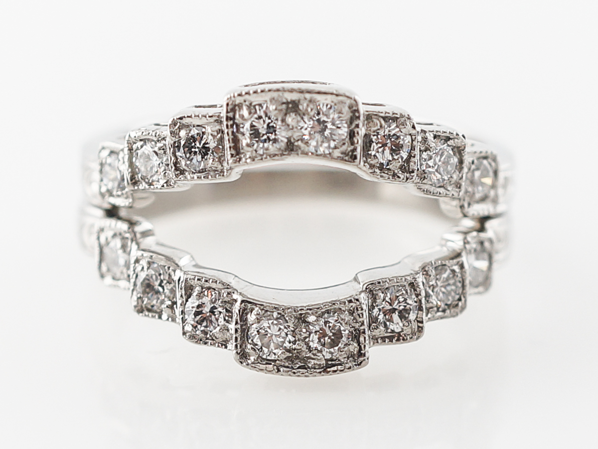 Vintage Style Ring Guards w/ Diamonds in Platinum