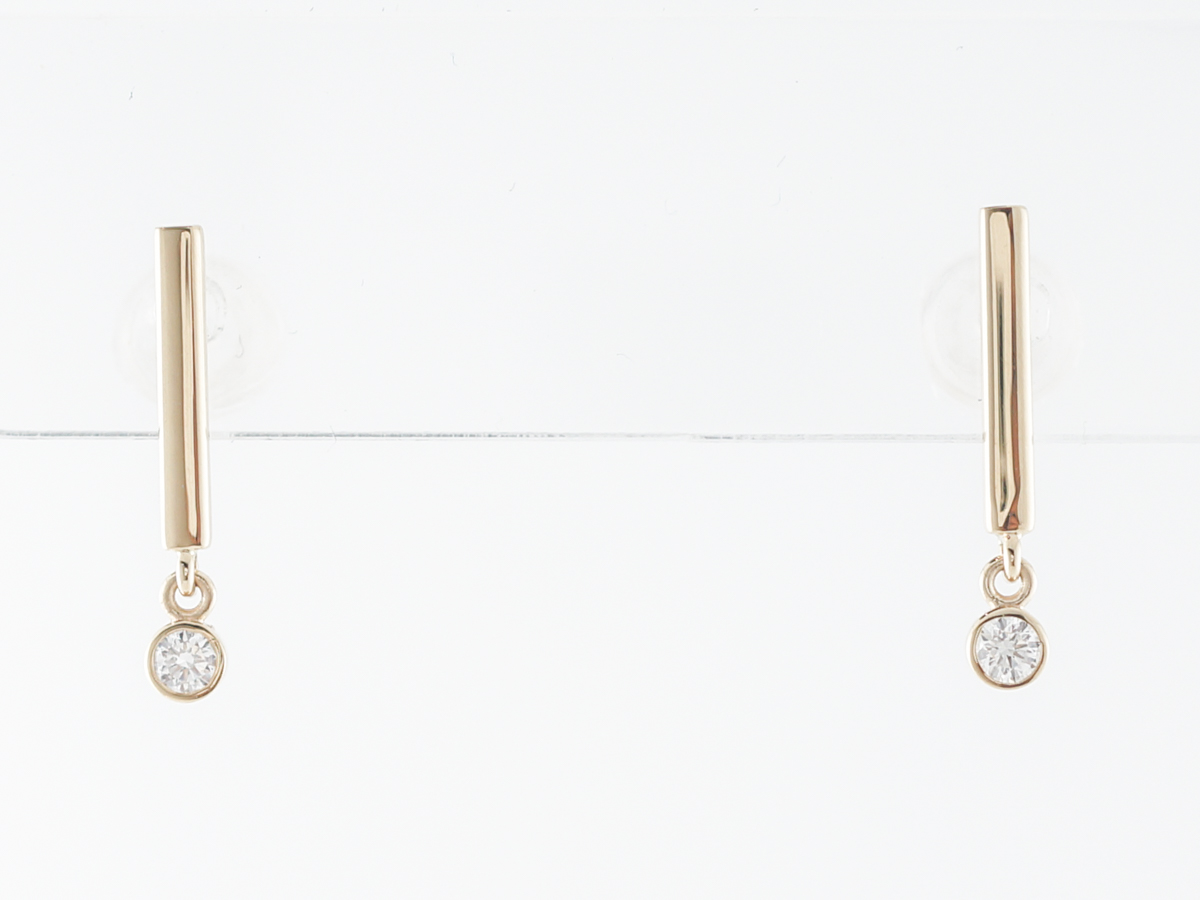 Petit Diamond Dangle Earrings in Yellow Gold