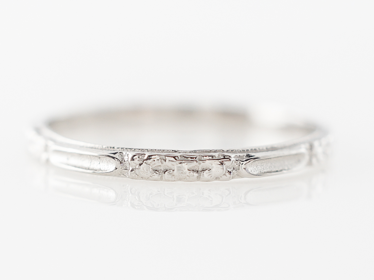Vintage Style Orange Blossom Wedding Band in Platinum