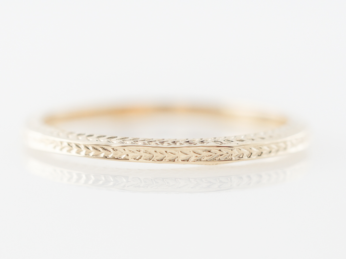 Yellow Gold Wedding Band w/ Chevron Pattern