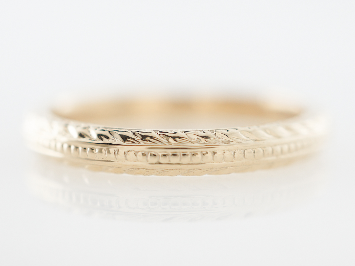 Vintage Style Engraved Wedding Band in Yellow Gold