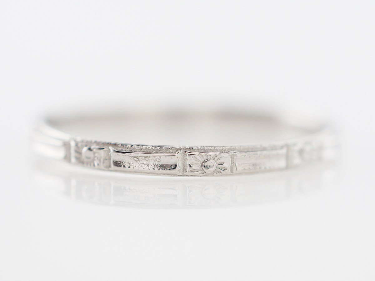 Art Deco Inspired Orange Blossom Wedding Band in Platinum