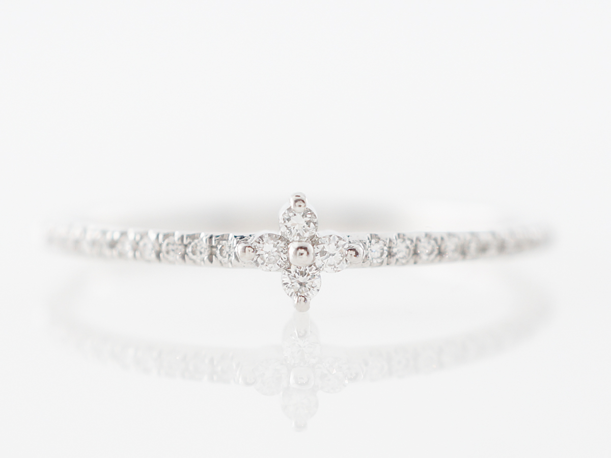 Delicate Diamond Right Hand Ring in White Gold