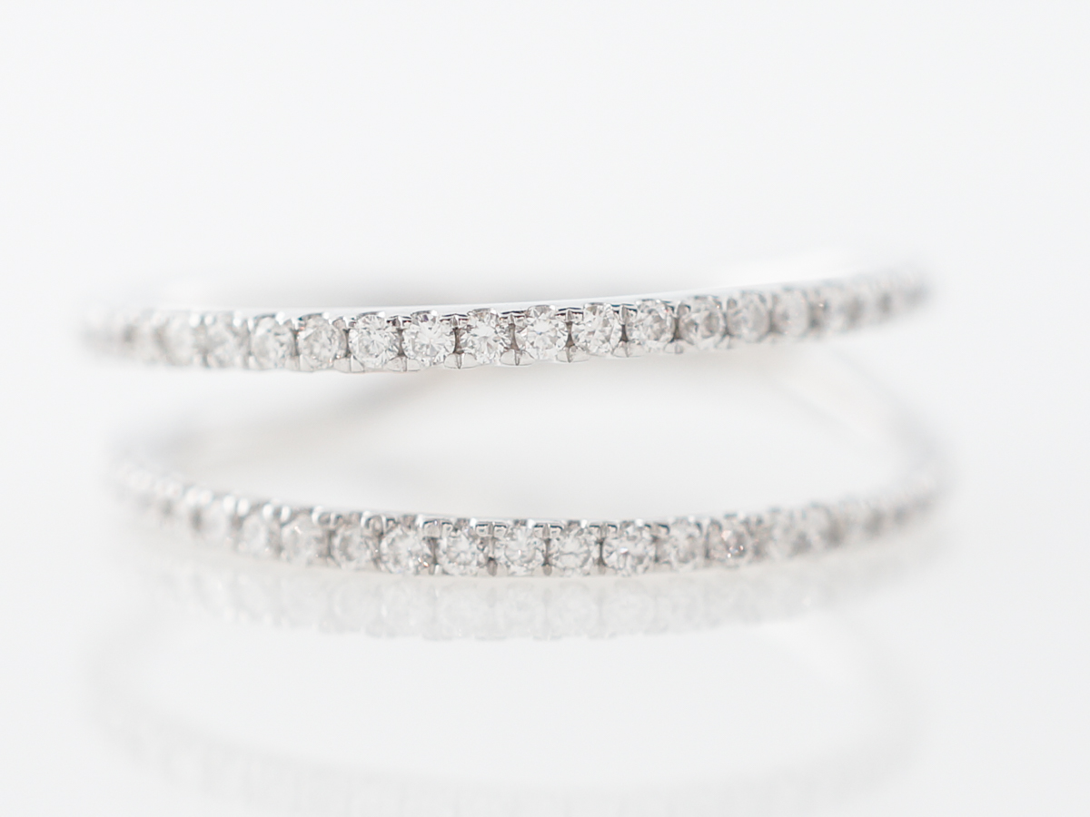 Wedding Band Ring Guards w/ Diamonds in White Gold