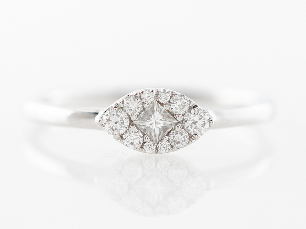 Dainty Diamond Cluster Ring in 18k White Gold