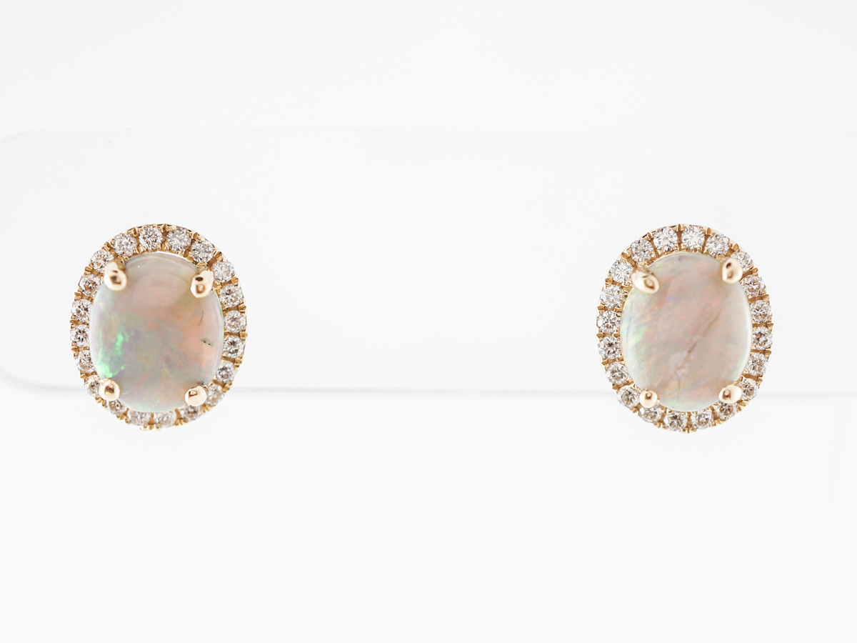Opal & Diamond Earring Studs in 14k Yellow Gold