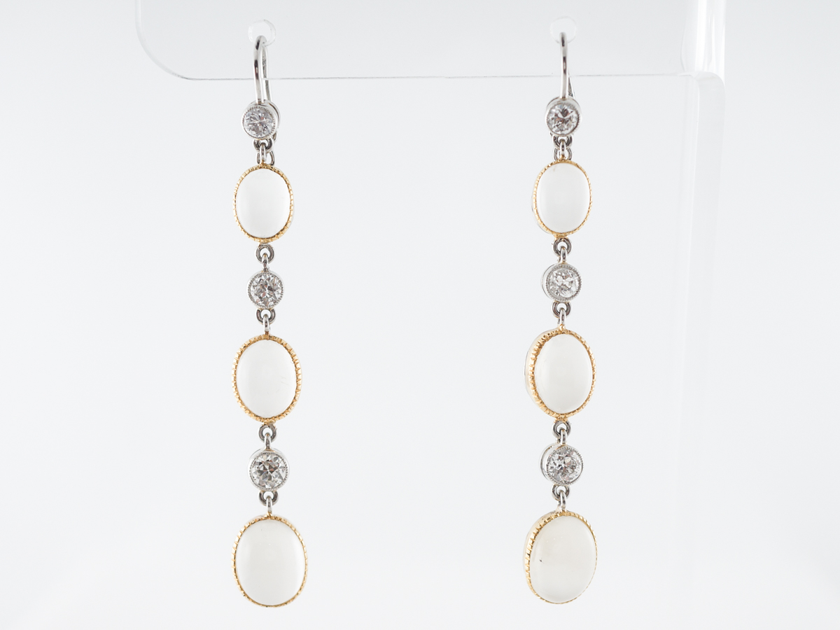 Moonstone & Diamond Earrings in White & Yellow Gold