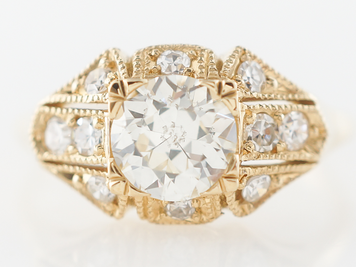Vintage Deco Diamond Engagement Ring in Yellow Gold