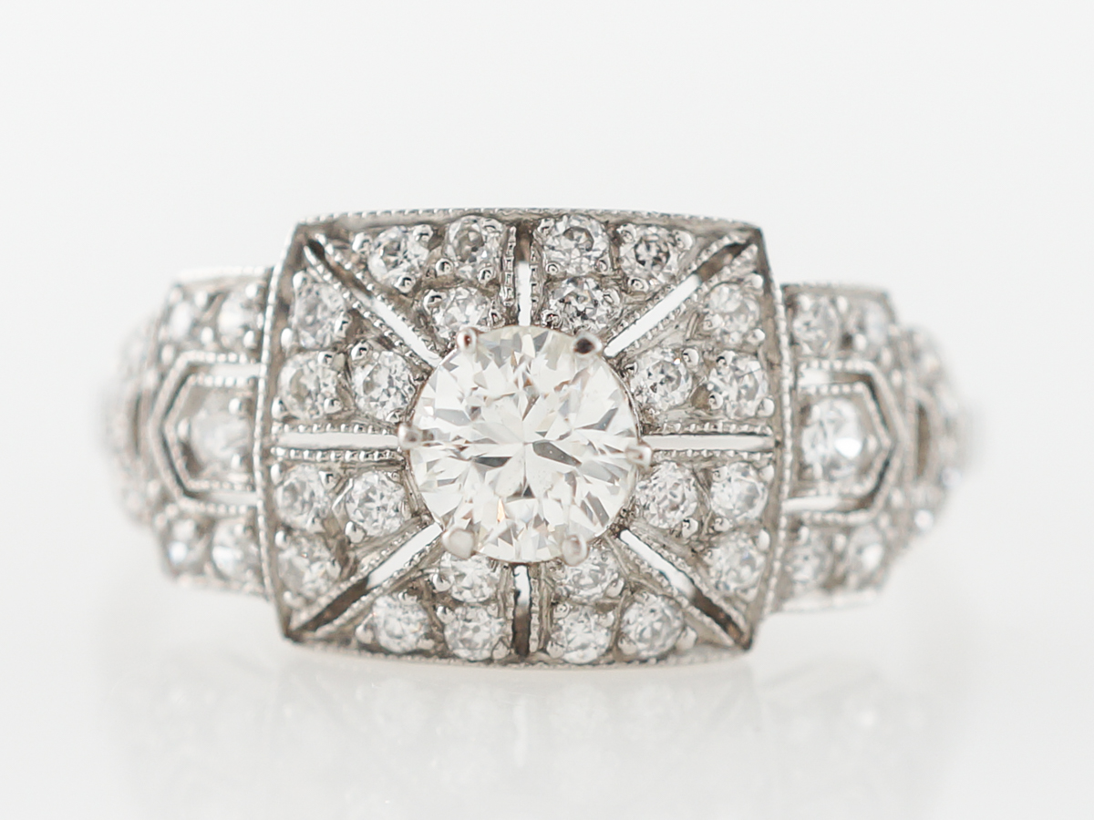 Antique Art Deco Diamond Engagement Ring in Platinum