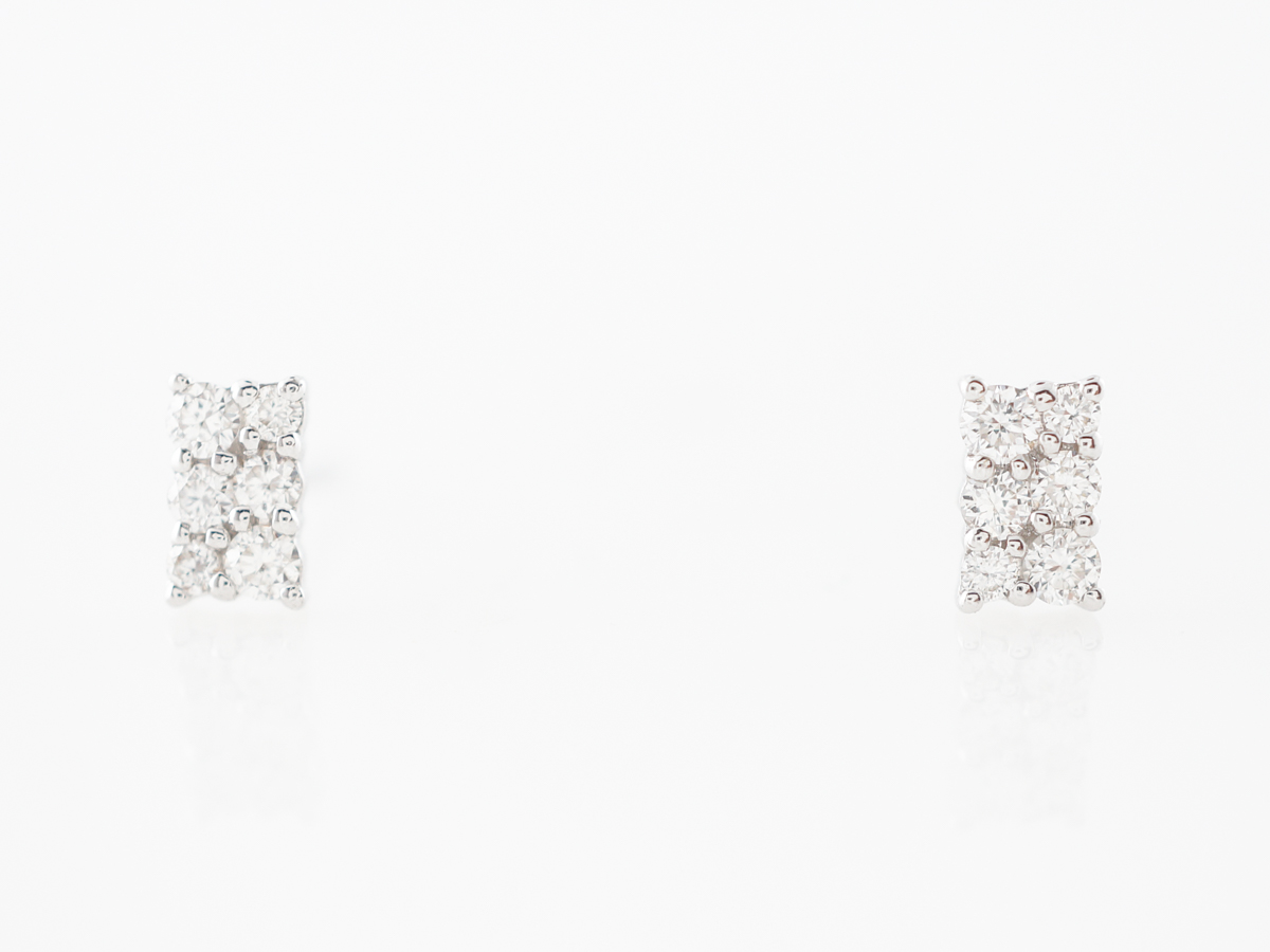 Diamond Cluster Pave Earrings in 18k White Gold