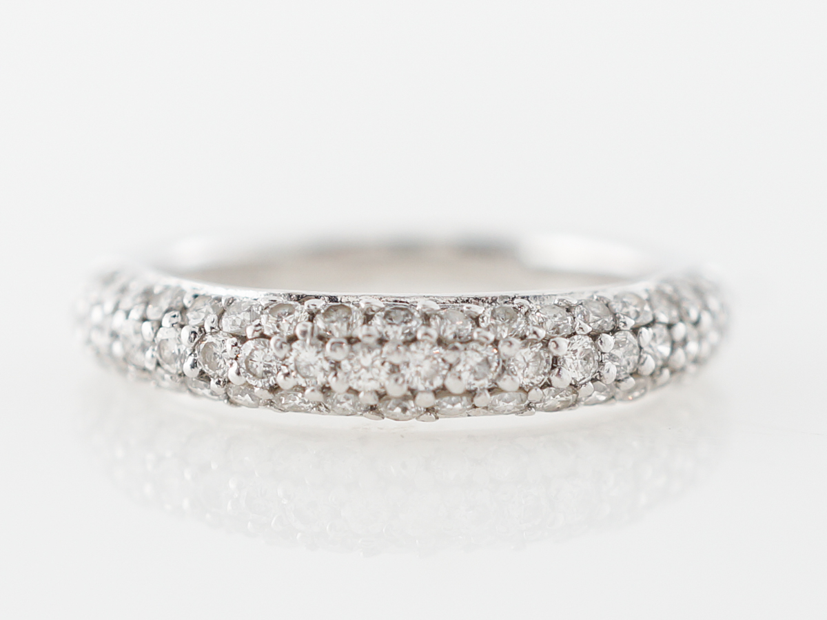Pave Diamond Wedding Band in 14k White Gold