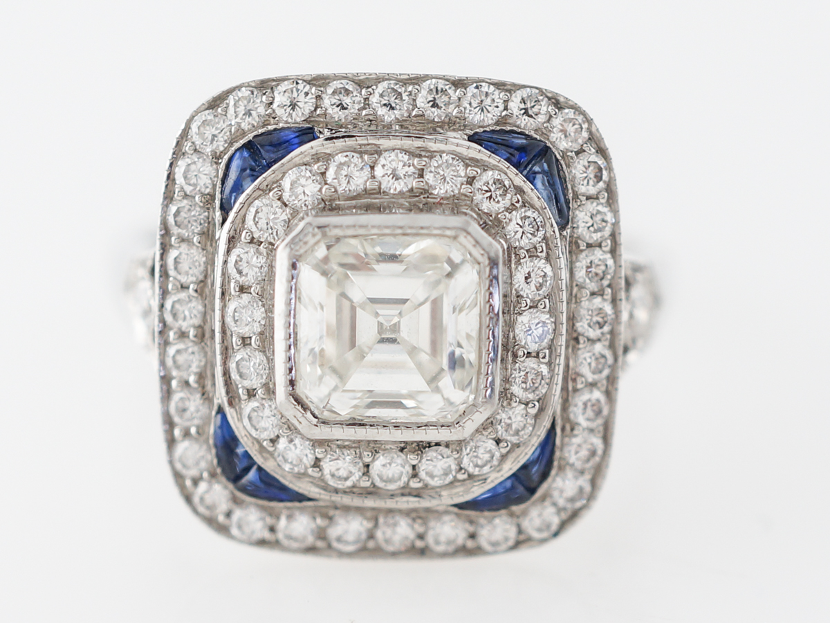 Asscher Cut Diamond Engagement Ring w/ Sapphire Accents