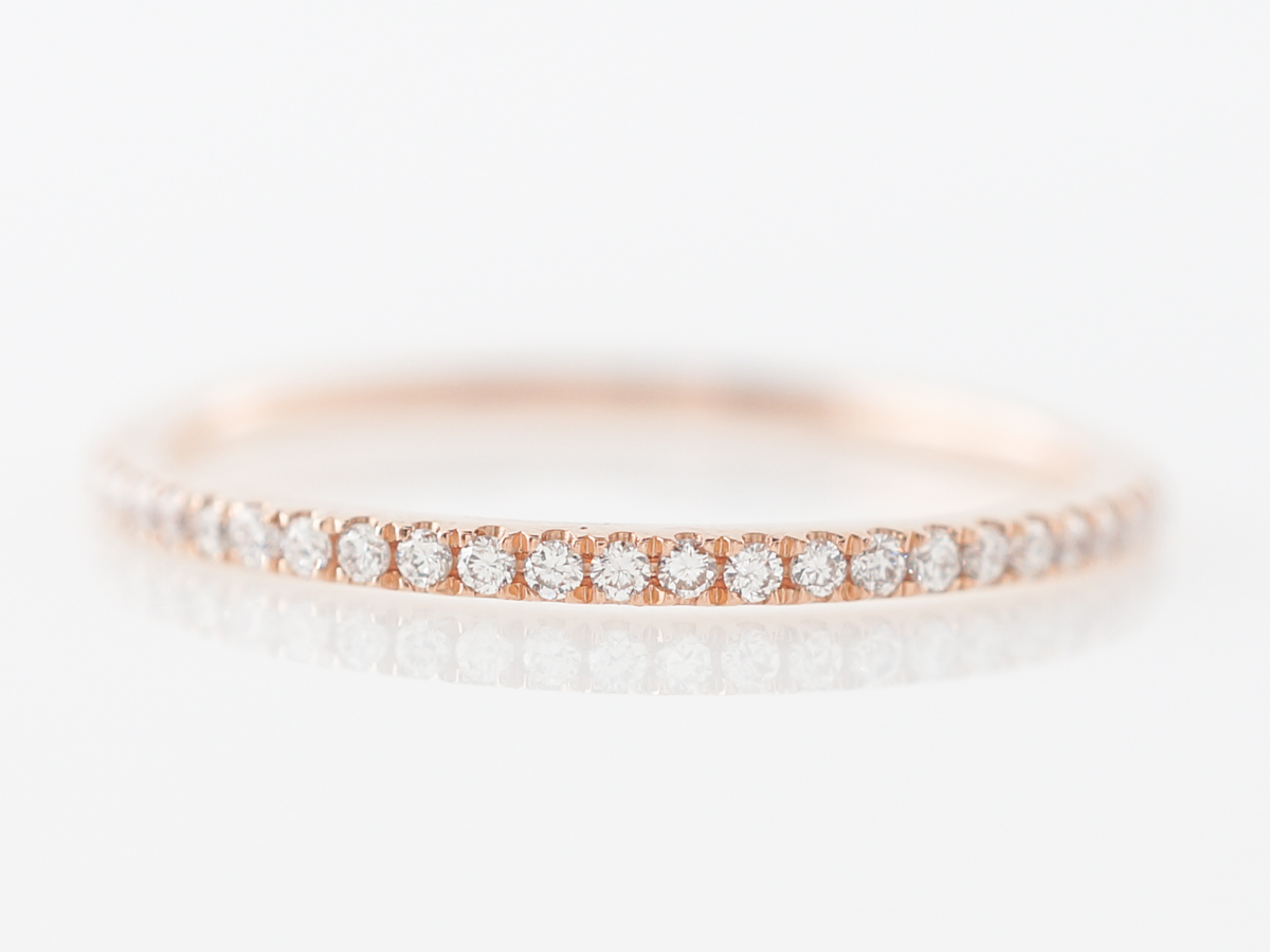 Thin Rose Gold Wedding Band w/ Diamonds in 18k