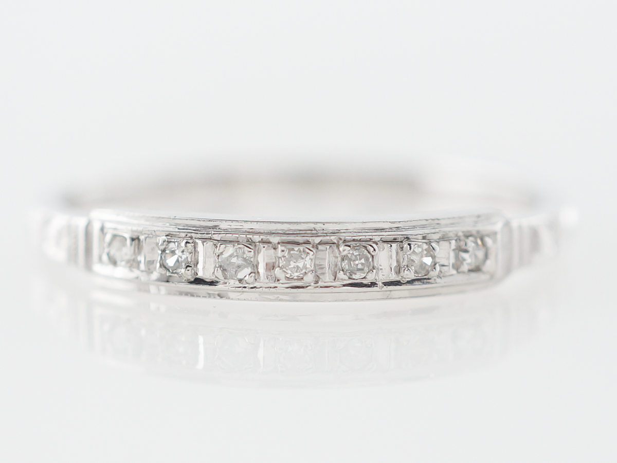 Vintage Single Cut Diamond Wedding Band in White Gold