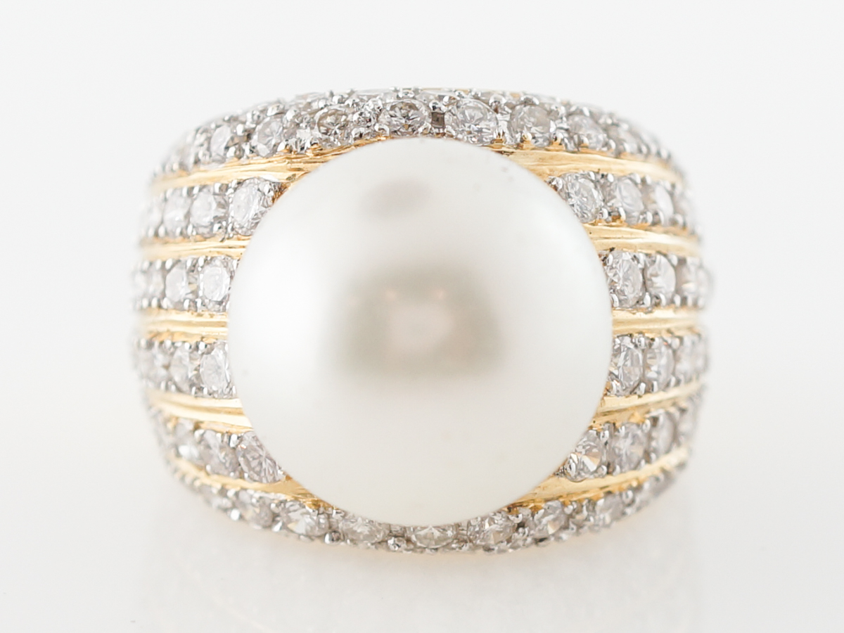 South Sea Pearl & Diamond Cocktail Ring in Yellow Gold