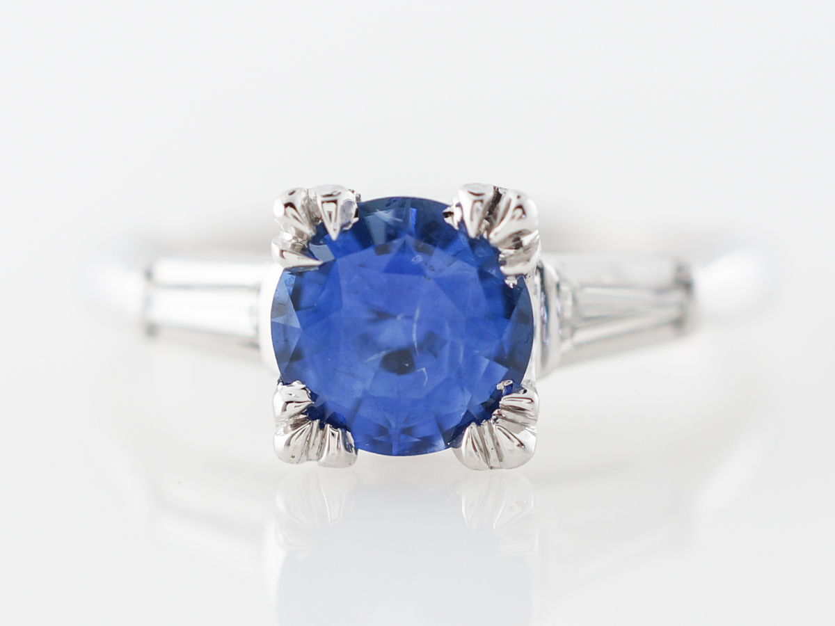 Vintage Mid-Century Engagement Ring w/ Sapphire and Diamonds