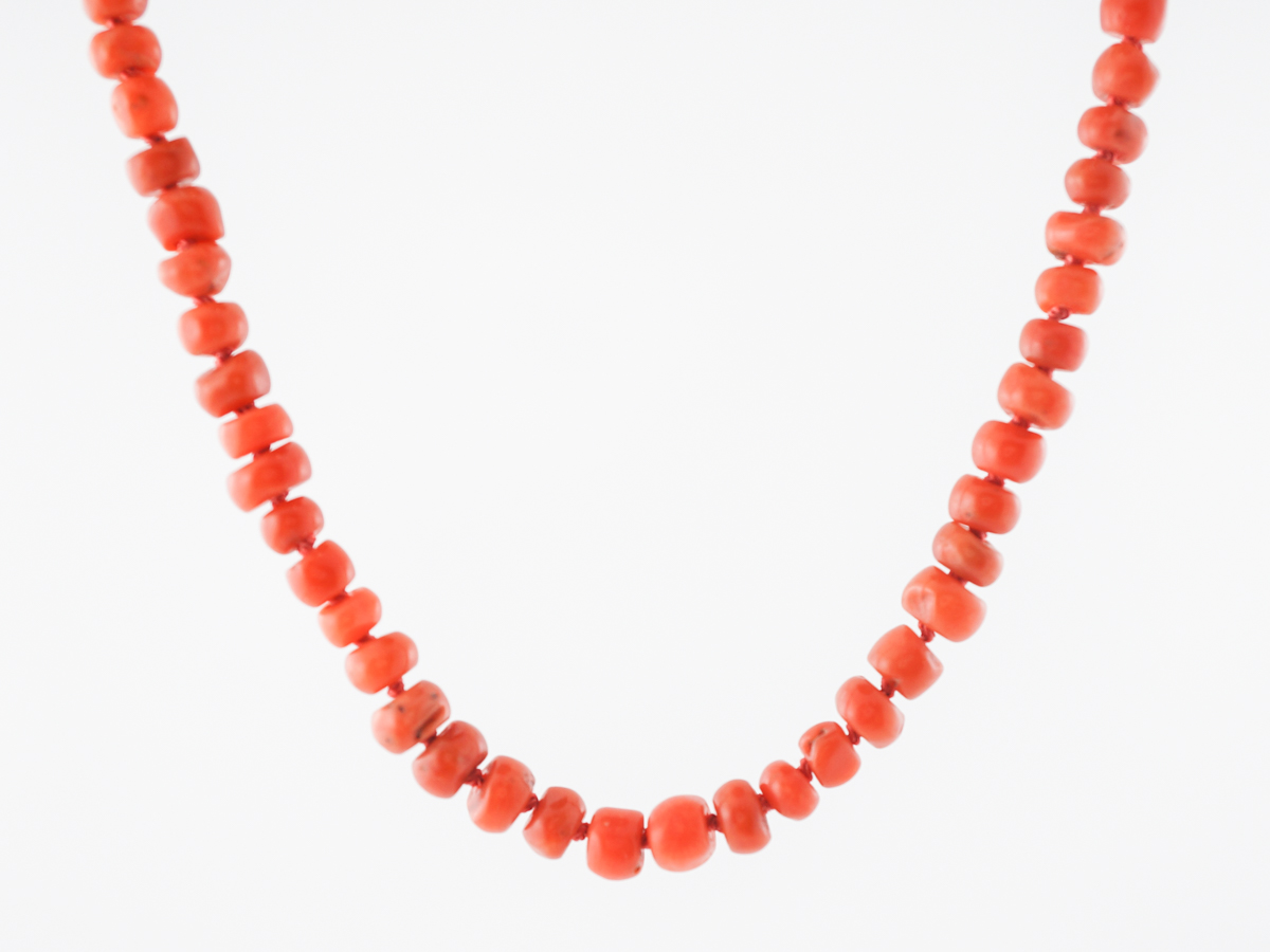 Vintage Mid Century Coral Beaded Necklace