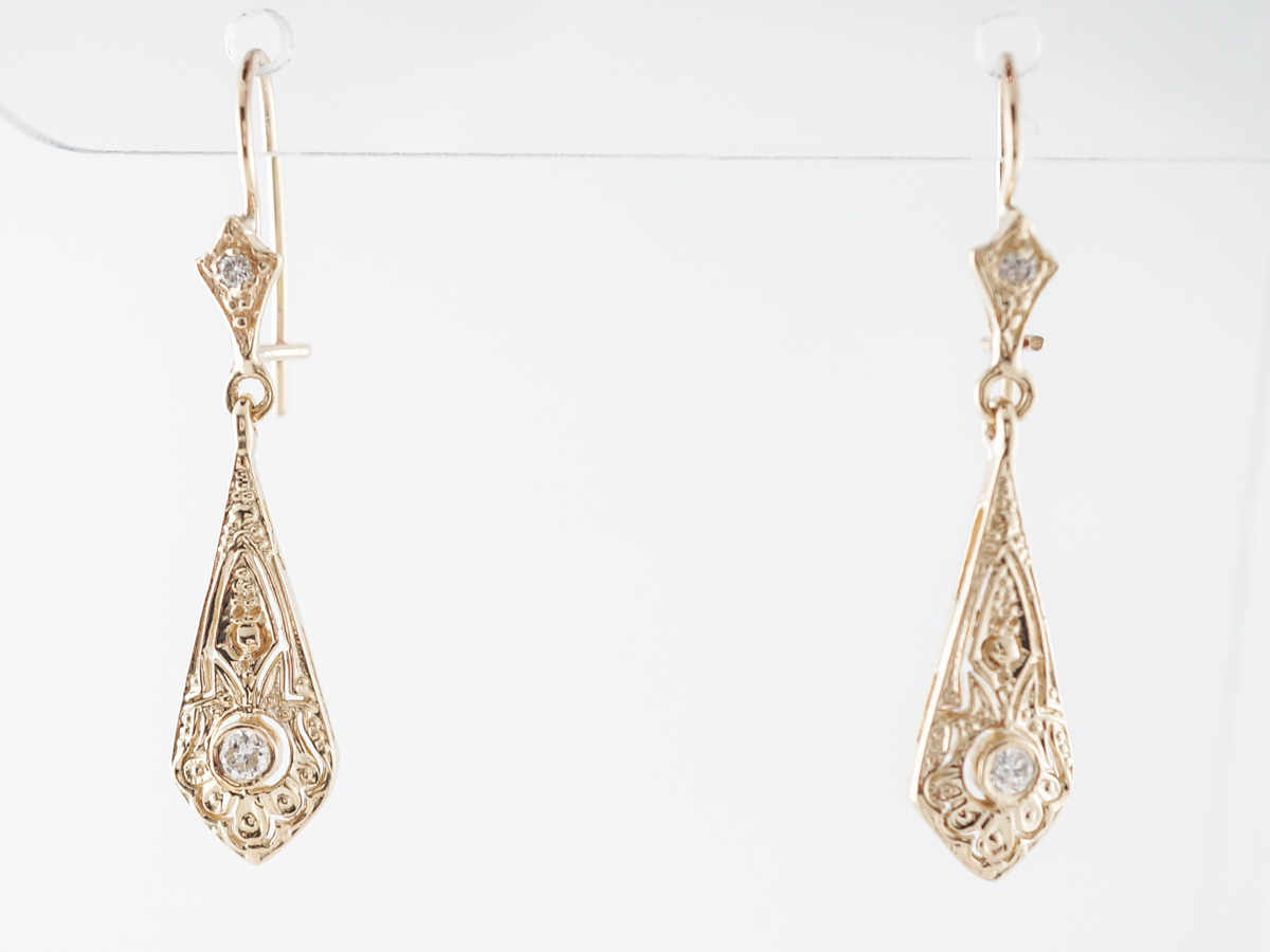 Vintage Style Earrings w/ Old European Diamonds in Yellow Gold