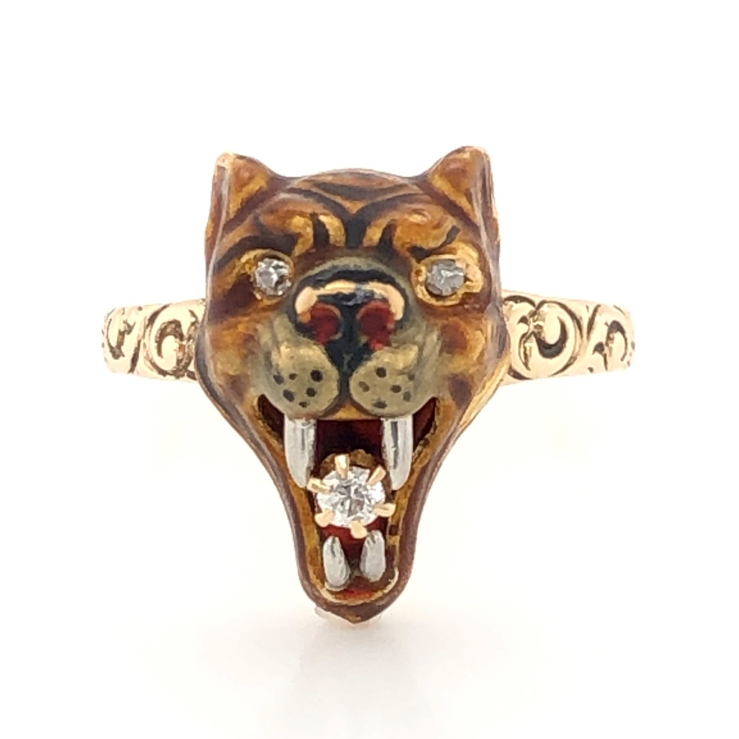 Victorian Lion Ring w/ Diamonds in 10k Yellow Gold