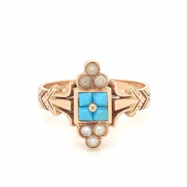 Victorian Pearl & Turquoise Ring in 14k Rose Gold