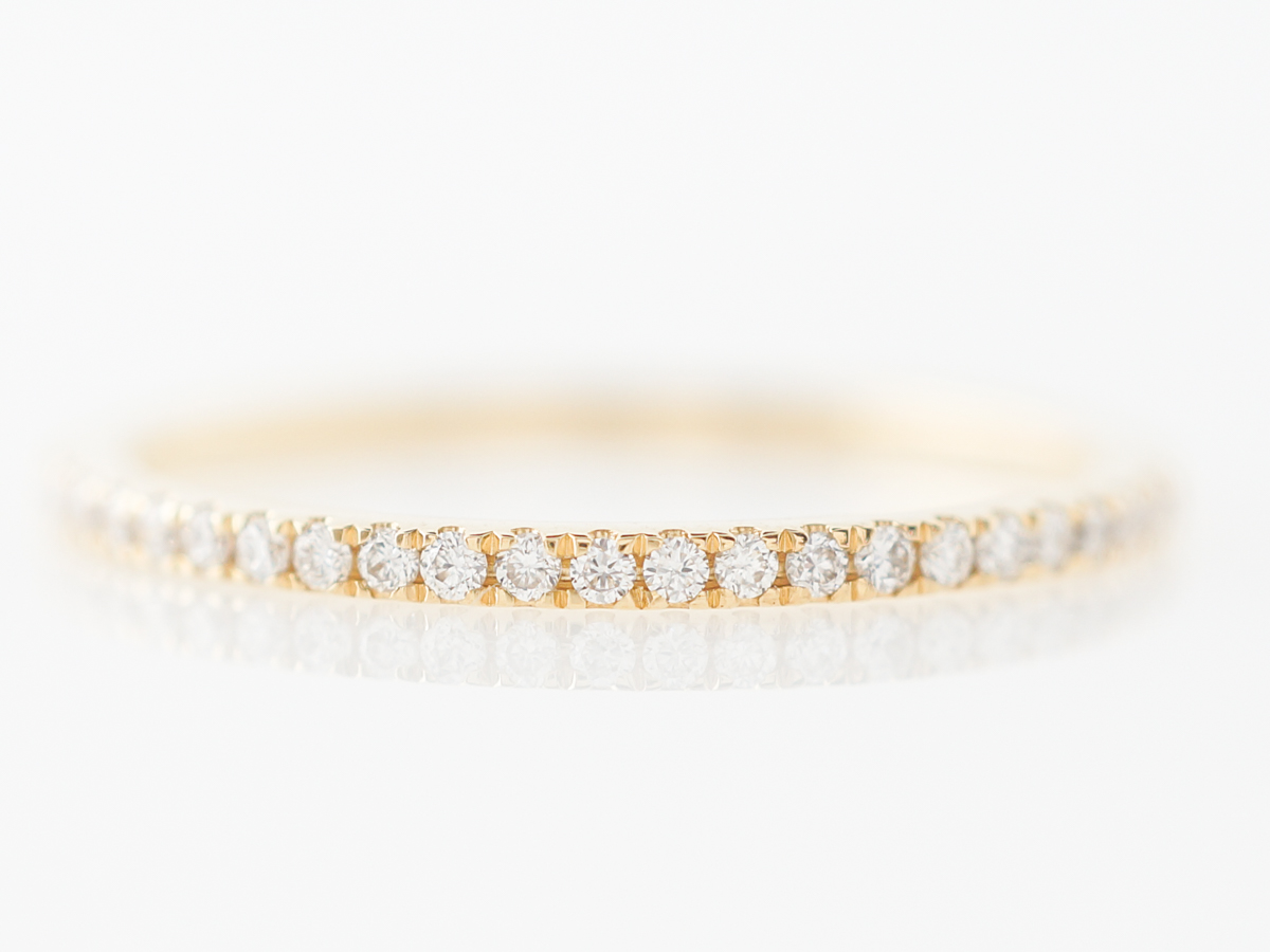 Slim Yellow Gold Wedding Band w/ Diamonds in 18k