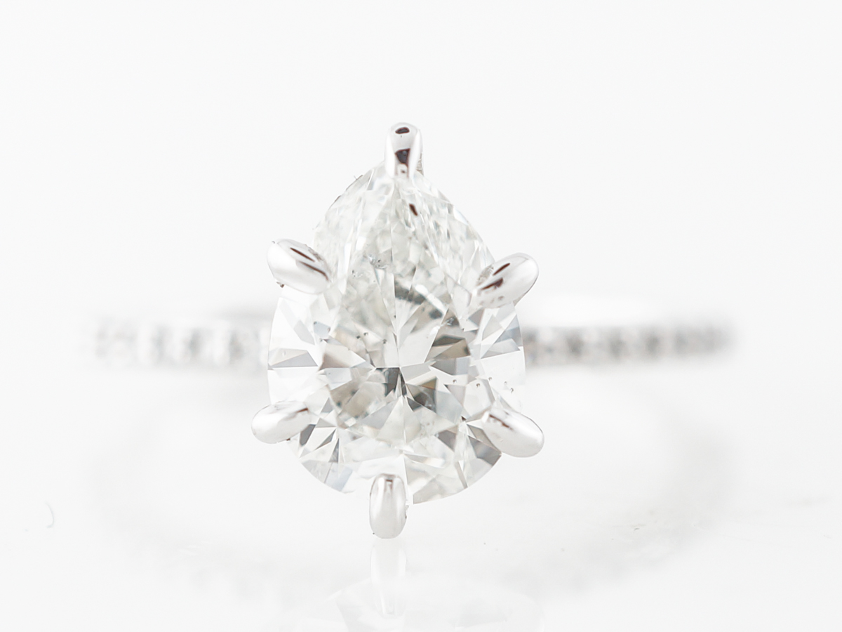 Pear Cut Diamond Engagement in 14k White Gold