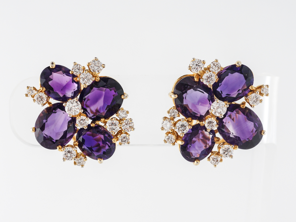 Amethyst & Diamond Cluster Earrings in 14k Yellow Gold