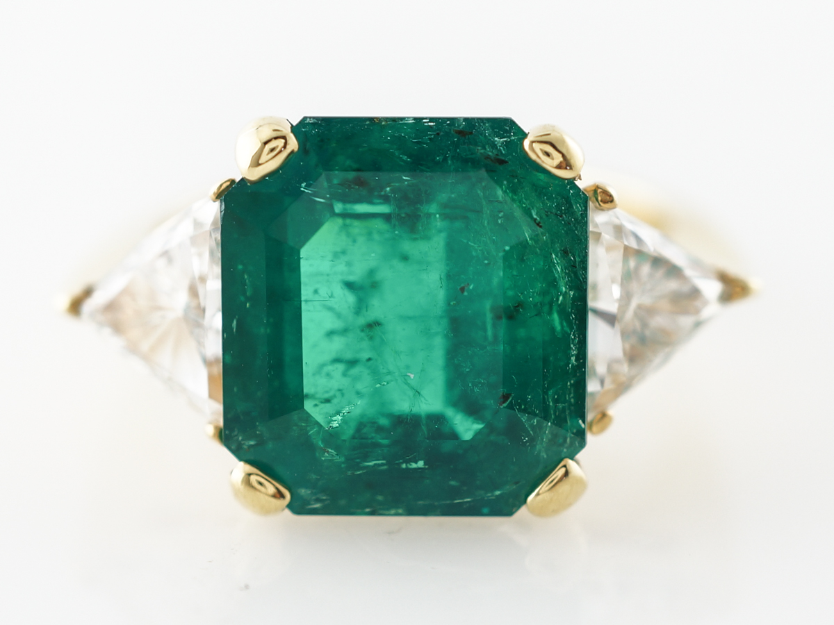 5 Carat Emerald Engagement Ring in Yellow Gold