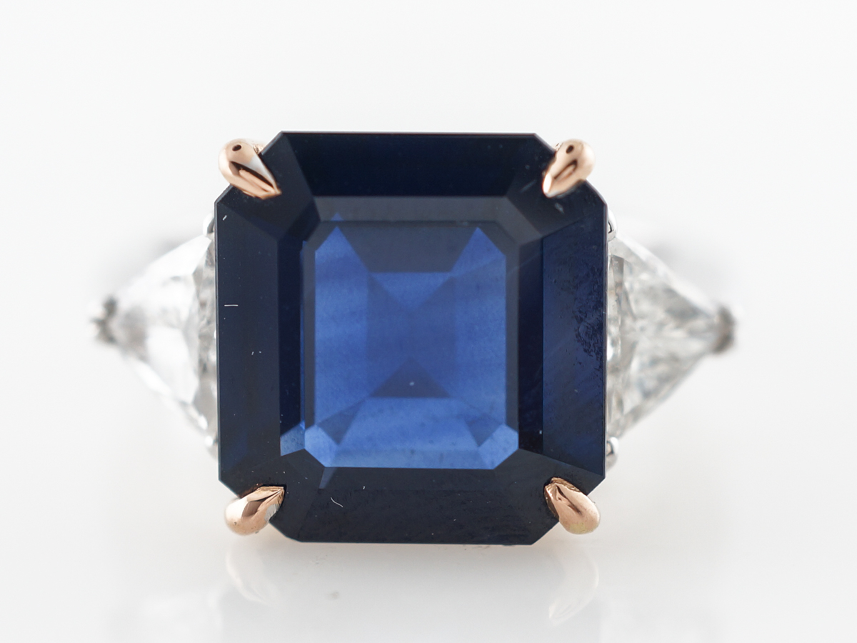 8 Carat Sapphire Engagement Ring in Platinum & Yellow Gold