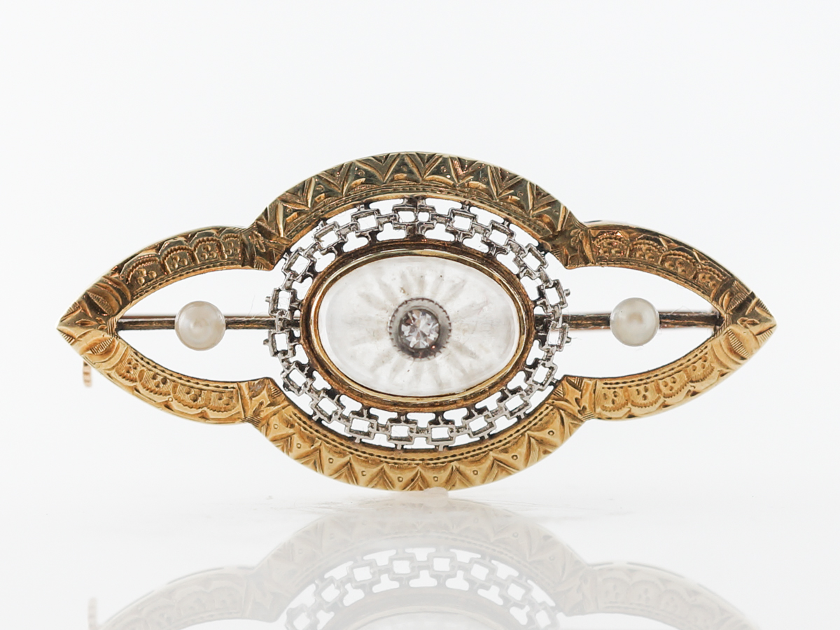Pearl & Diamond Art Deco Brooch in White & Yellow Gold