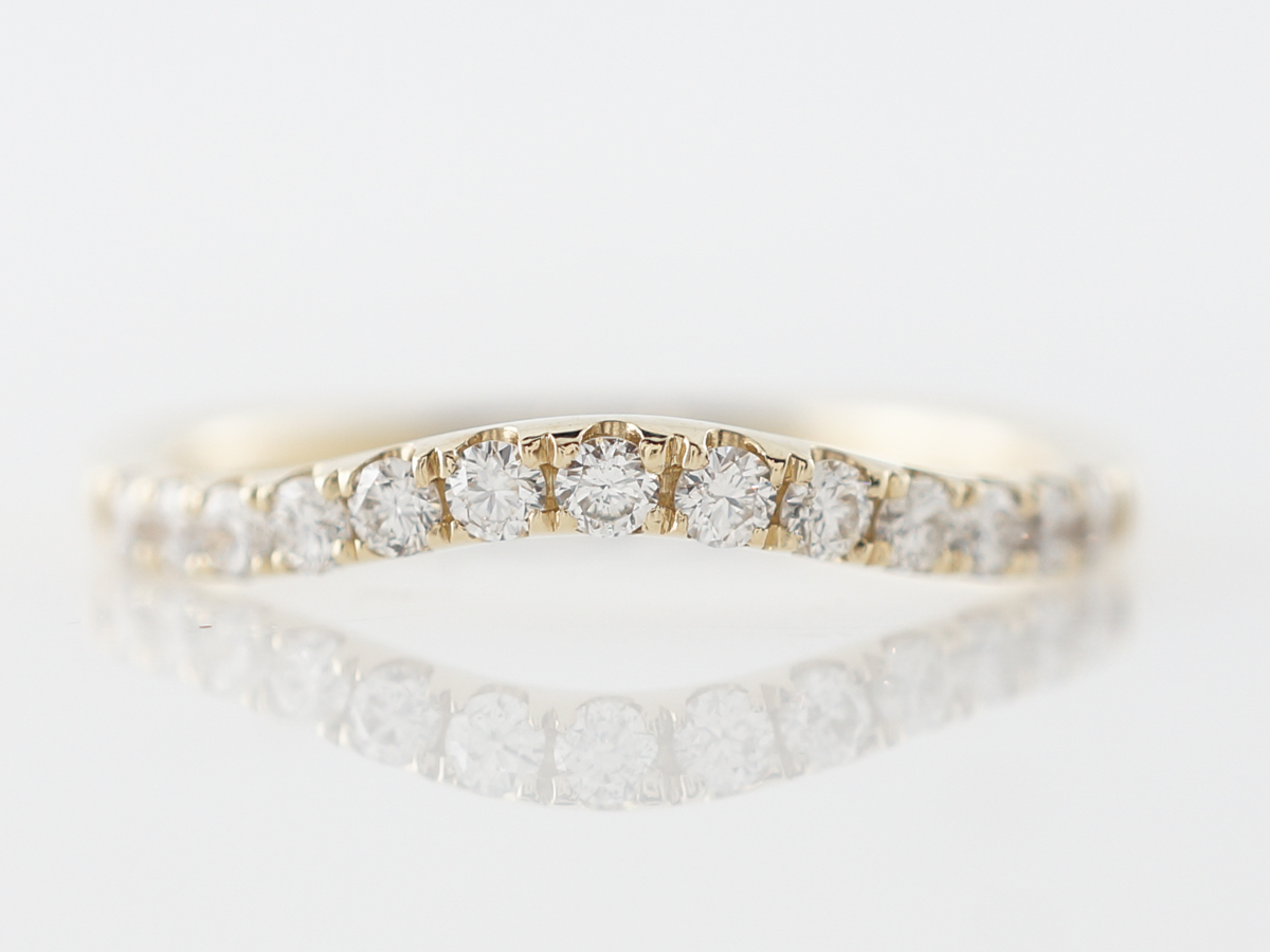 Contoured Diamond Wedding Band in Yellow Gold