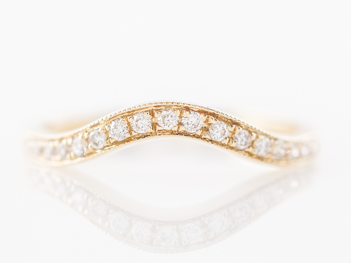 Contoured Diamond Wedding Band in 14k Yellow Gold