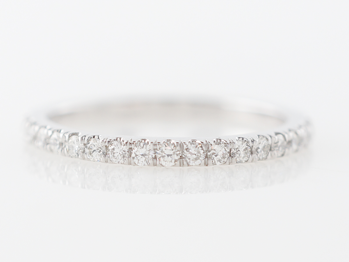 Thin Prong Set Diamond Wedding Band in Platinum