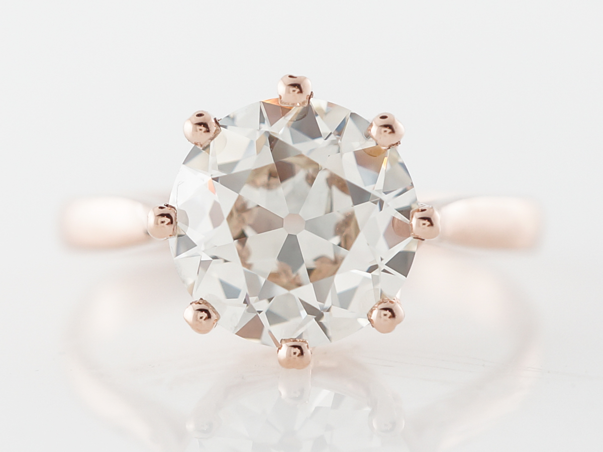 GIA 2 Carat Old Brilliant Cut Diamond Engagement Ring in Rose Gold