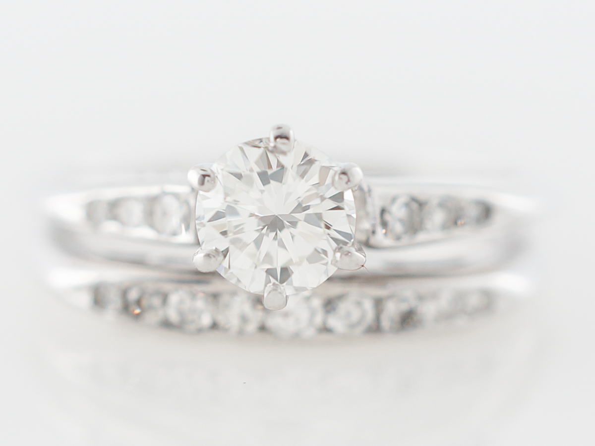 Vintage Wedding Set w/ Half Carat Diamond in White Gold