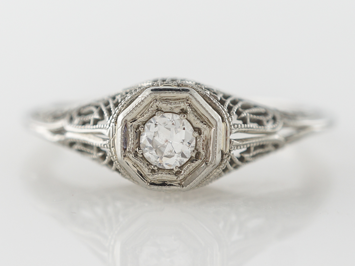 Vintage European Diamond & Filigree Engagement Ring in 14k