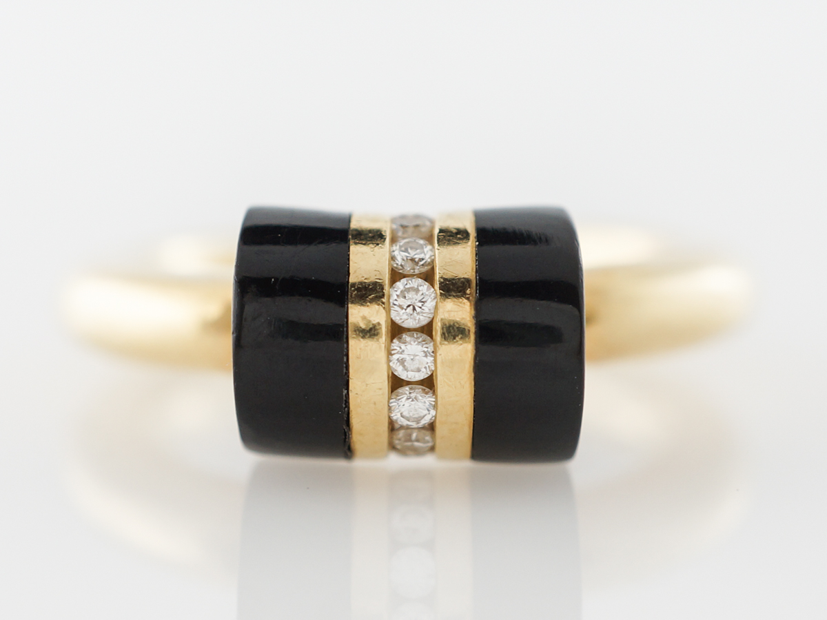Onyx & .16 carat Diamond Right Hand Ring in Yellow Gold