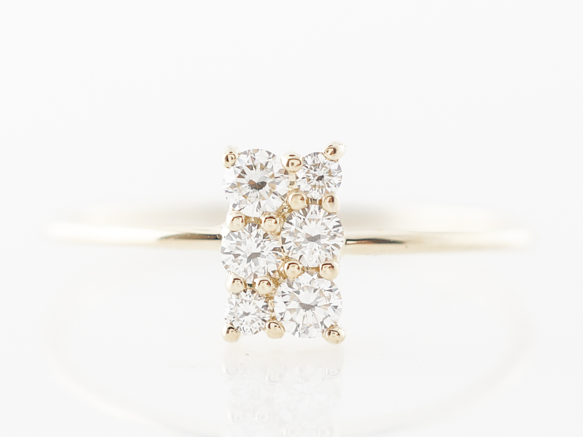 Yellow Gold Diamond Cluster Ring in 14k