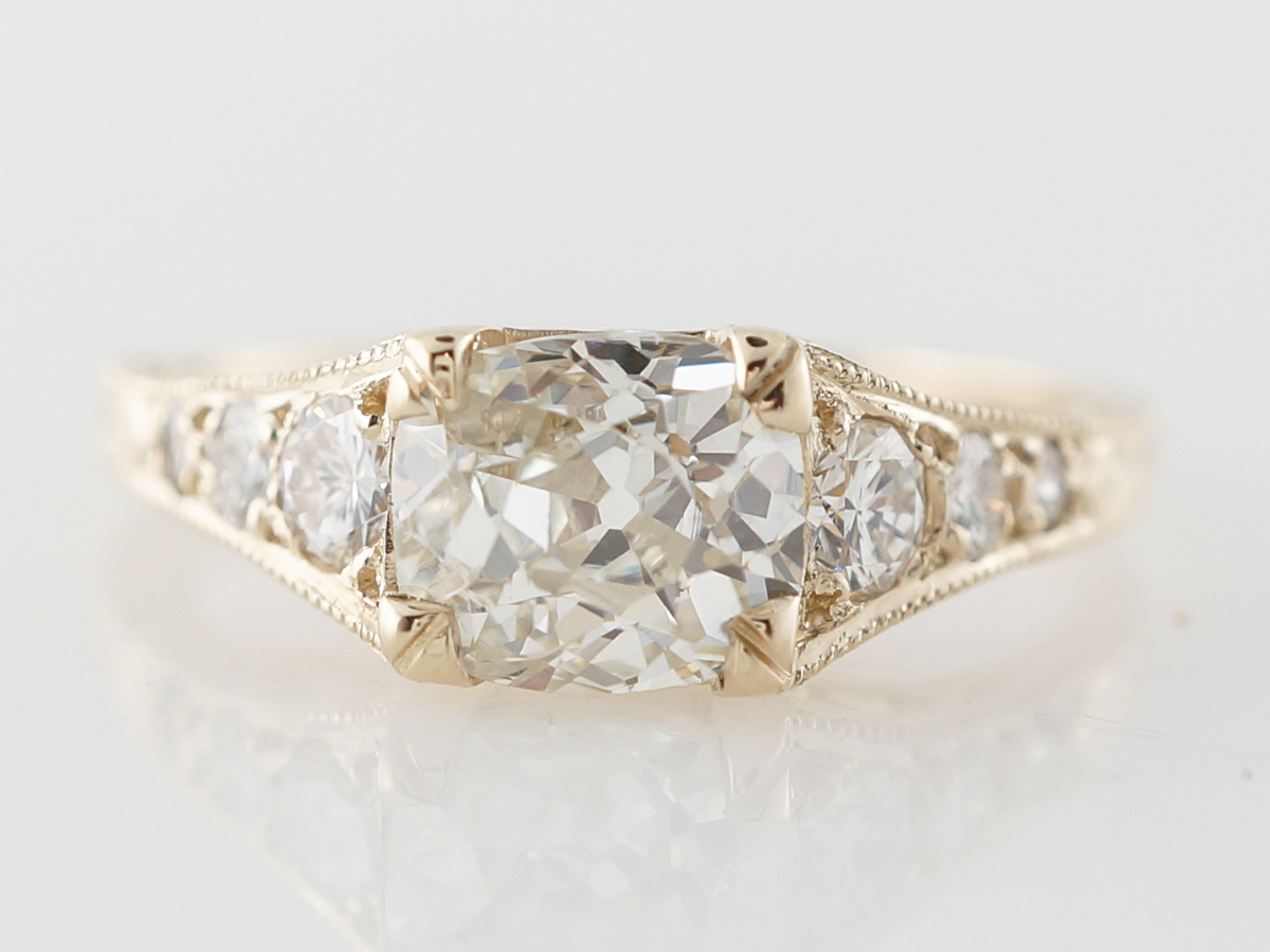 Vintage Style Modern 1 Carat Old Cushion Cut Engagement Ring in Yellow Gold