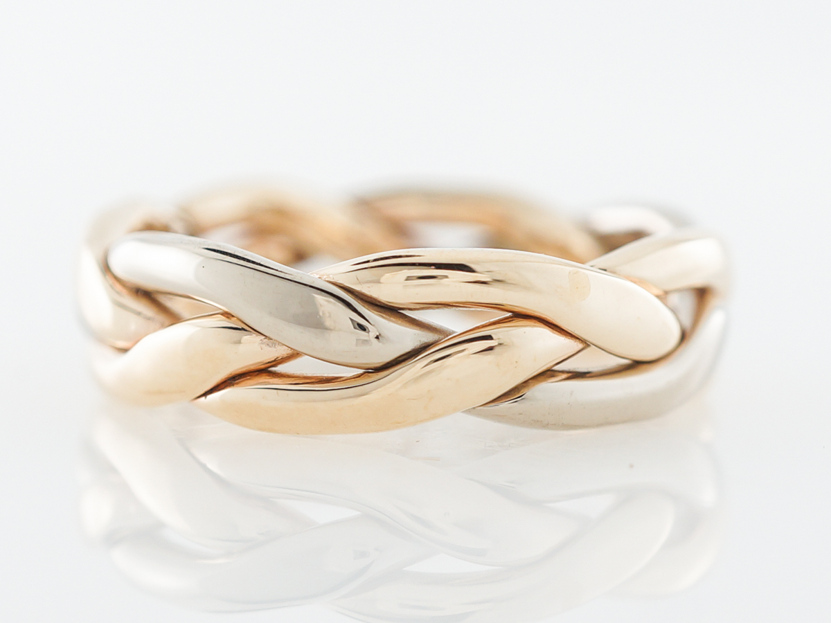 1960's Braided Wedding Band in White, Yellow & Rose Gold