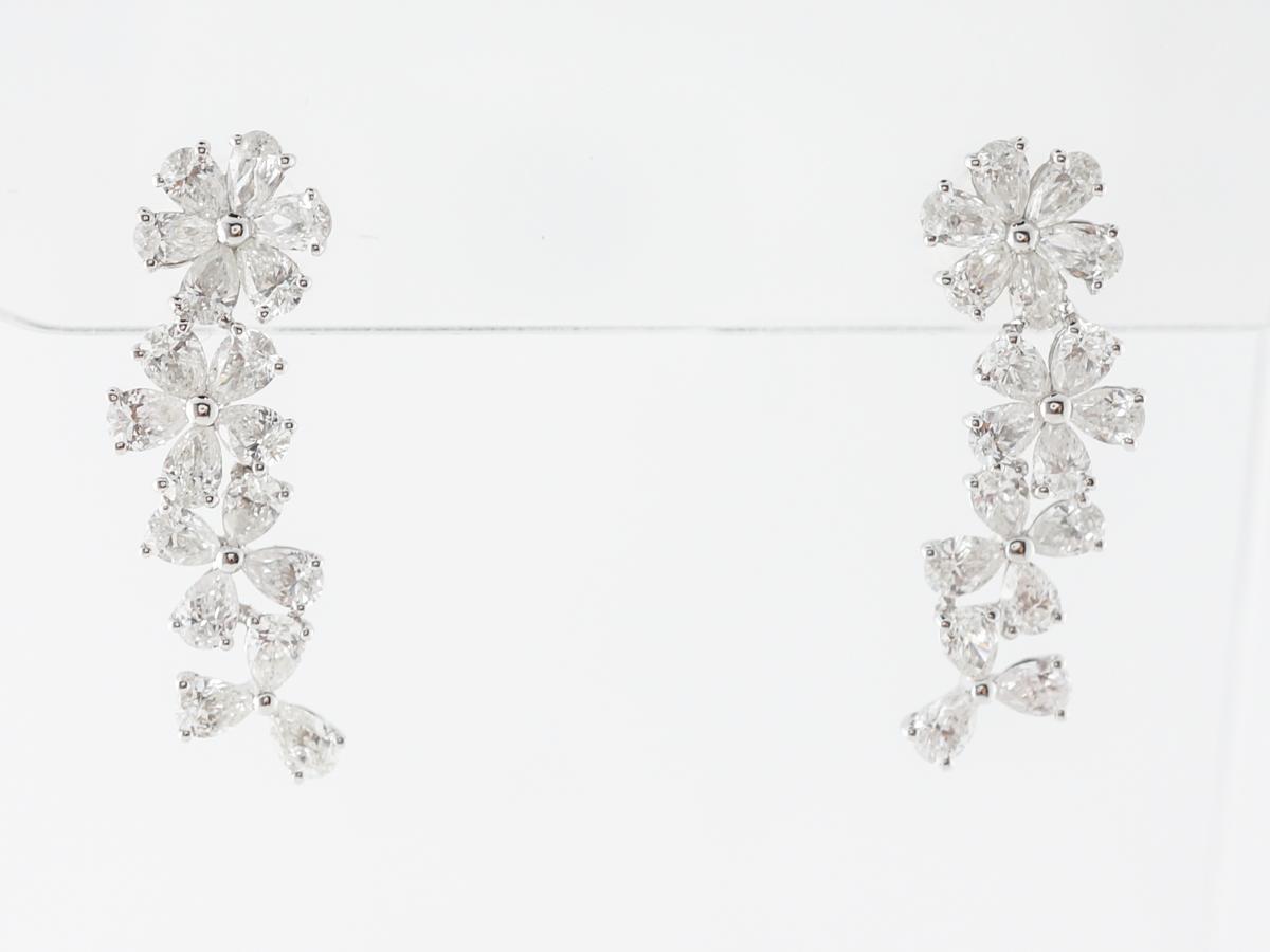 Floral Diamond Earrings w/ 2.5 Carats in White Gold